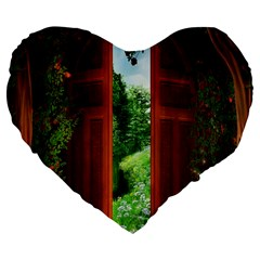 Beautiful World Entry Door Fantasy Large 19  Premium Flano Heart Shape Cushions by BangZart