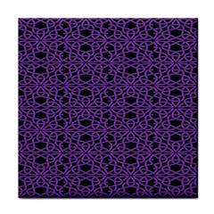 Triangle Knot Purple And Black Fabric Tile Coasters by BangZart