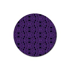 Triangle Knot Purple And Black Fabric Rubber Coaster (round)