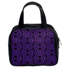 Triangle Knot Purple And Black Fabric Classic Handbags (2 Sides) by BangZart