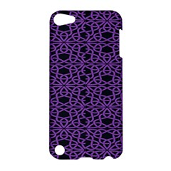 Triangle Knot Purple And Black Fabric Apple Ipod Touch 5 Hardshell Case by BangZart