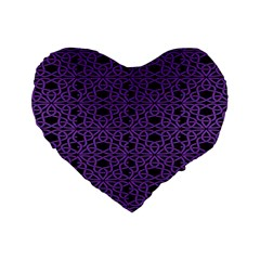 Triangle Knot Purple And Black Fabric Standard 16  Premium Heart Shape Cushions