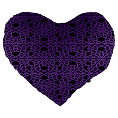 Triangle Knot Purple And Black Fabric Large 19  Premium Heart Shape Cushions by BangZart