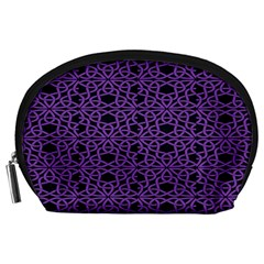 Triangle Knot Purple And Black Fabric Accessory Pouches (large)