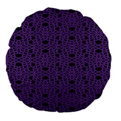 Triangle Knot Purple And Black Fabric Large 18  Premium Flano Round Cushions
