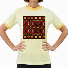 Toraja Traditional Art Pattern Women s Fitted Ringer T Shirts