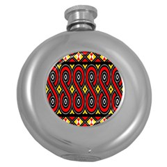 Toraja Traditional Art Pattern Round Hip Flask (5 Oz) by BangZart
