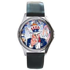 Independence Day United States Of America Round Metal Watch by BangZart