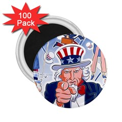 Independence Day United States Of America 2 25  Magnets (100 Pack)