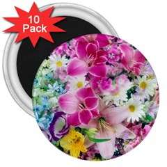 Colorful Flowers Patterns 3  Magnets (10 Pack)