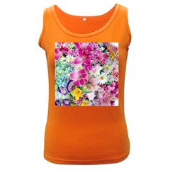 Colorful Flowers Patterns Women s Dark Tank Top