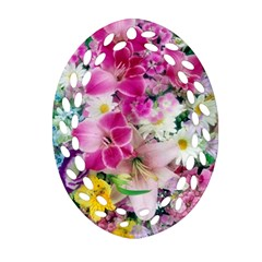 Colorful Flowers Patterns Ornament (oval Filigree)