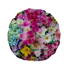 Colorful Flowers Patterns Standard 15  Premium Flano Round Cushions