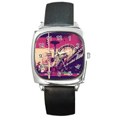 Pink City Retro Vintage Futurism Art Square Metal Watch