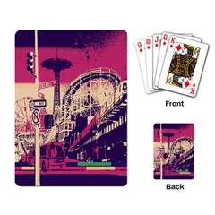 Pink City Retro Vintage Futurism Art Playing Card by BangZart
