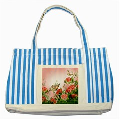 Flora Butterfly Roses Striped Blue Tote Bag