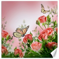 Flora Butterfly Roses Canvas 16  X 16