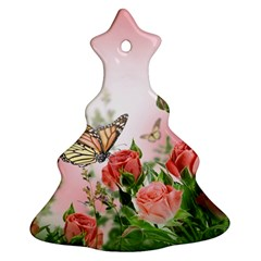 Flora Butterfly Roses Christmas Tree Ornament (two Sides) by BangZart