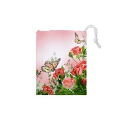 Flora Butterfly Roses Drawstring Pouches (xs)  by BangZart