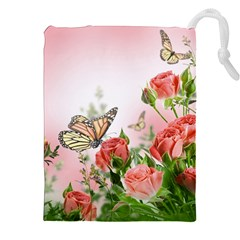 Flora Butterfly Roses Drawstring Pouches (xxl)
