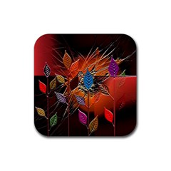 Colorful Leaves Rubber Coaster (square)  by BangZart