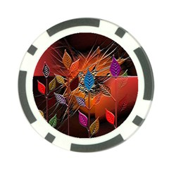 Colorful Leaves Poker Chip Card Guard