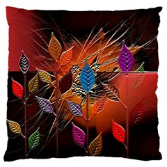 Colorful Leaves Large Flano Cushion Case (two Sides)