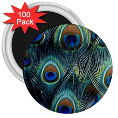 Feathers Art Peacock Sheets Patterns 3  Magnets (100 Pack) by BangZart