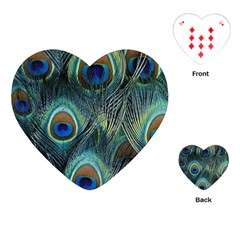 Feathers Art Peacock Sheets Patterns Playing Cards (heart)  by BangZart