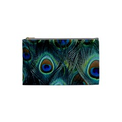 Feathers Art Peacock Sheets Patterns Cosmetic Bag (small)  by BangZart