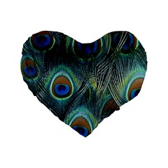 Feathers Art Peacock Sheets Patterns Standard 16  Premium Flano Heart Shape Cushions