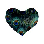 Feathers Art Peacock Sheets Patterns Standard 16  Premium Flano Heart Shape Cushions Front