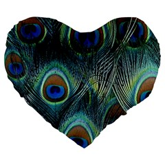 Feathers Art Peacock Sheets Patterns Large 19  Premium Flano Heart Shape Cushions