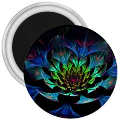 Fractal Flowers Abstract Petals Glitter Lights Art 3d 3  Magnets