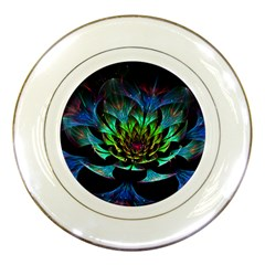 Fractal Flowers Abstract Petals Glitter Lights Art 3d Porcelain Plates by BangZart