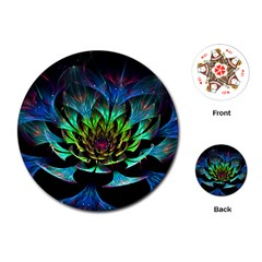 Fractal Flowers Abstract Petals Glitter Lights Art 3d Playing Cards (round)
