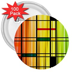 Line Rainbow Grid Abstract 3  Buttons (100 Pack)
