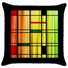 Line Rainbow Grid Abstract Throw Pillow Case (black) by BangZart