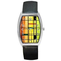 Line Rainbow Grid Abstract Barrel Style Metal Watch