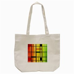 Line Rainbow Grid Abstract Tote Bag (cream) by BangZart