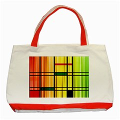 Line Rainbow Grid Abstract Classic Tote Bag (red) by BangZart