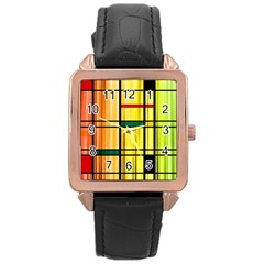 Line Rainbow Grid Abstract Rose Gold Leather Watch