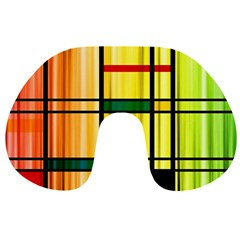 Line Rainbow Grid Abstract Travel Neck Pillows