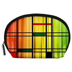 Line Rainbow Grid Abstract Accessory Pouches (large)
