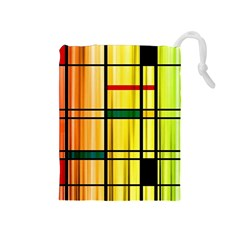 Line Rainbow Grid Abstract Drawstring Pouches (medium)  by BangZart