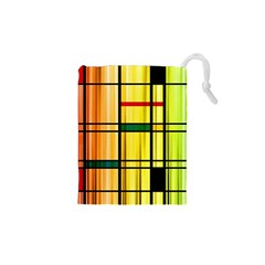 Line Rainbow Grid Abstract Drawstring Pouches (xs)
