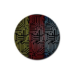 Circuit Board Seamless Patterns Set Rubber Round Coaster (4 Pack)