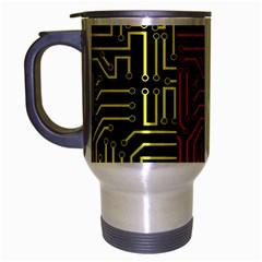 Circuit Board Seamless Patterns Set Travel Mug (silver Gray) by BangZart