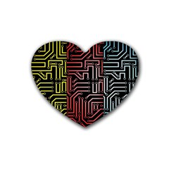 Circuit Board Seamless Patterns Set Rubber Coaster (heart)