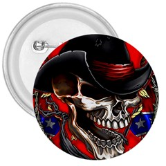 Confederate Flag Usa America United States Csa Civil War Rebel Dixie Military Poster Skull 3  Buttons